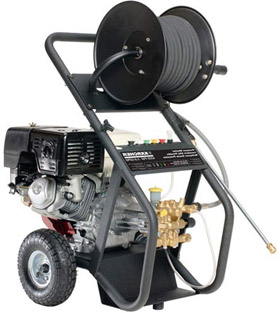 pressure washer with attached hose reel